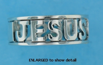 ENLARGED view of A601-40 Jesus ring