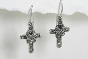 sterling silver marcasite cross earrings style A706118
