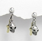 sterling silver skull earrings A768-151