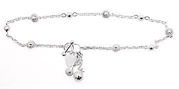 sterling silver flower toggle anklet AAB107
