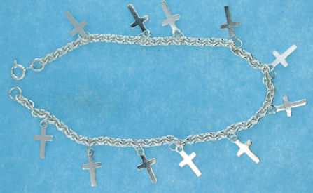 sterling silver cross bracelet ABCT706418
