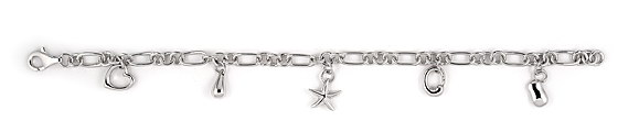 sterling silver 5 charm bracelet ABH065