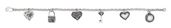 sterling silver 6 charm bracelet ABH075