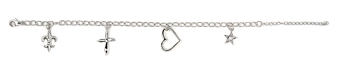 sterling silver 4 charm bracelet ABH077