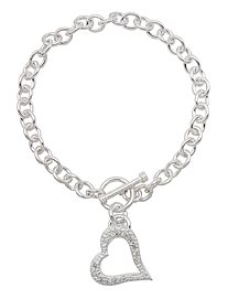 Sterling silver CZ toggle bracelet ACH043
