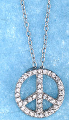 sterling silver peace sign pendant aczn659