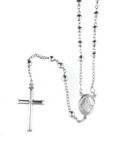 sterling silver cross rosary necklace AN002