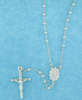 sterling silver cross rosary necklace AN005