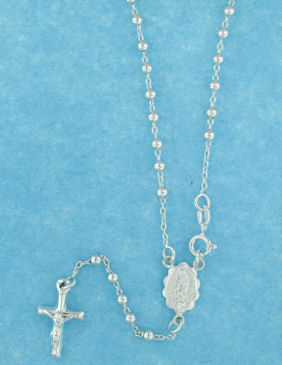 sterling silver cross rosary necklace AN006