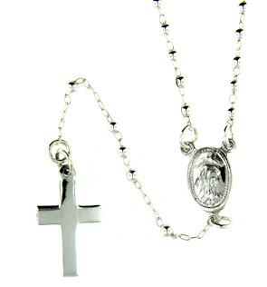 stainless steel cross rosary necklace