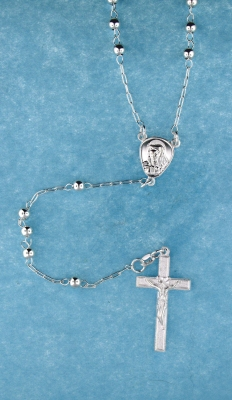 sterling silver cross rosary necklace ANK018