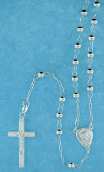 sterling silver cross rosary necklace ANK045MMS