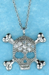 sterling silver skull CZ necklace ANP20401