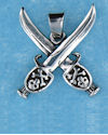 Model AP0070 skull with swords pendant