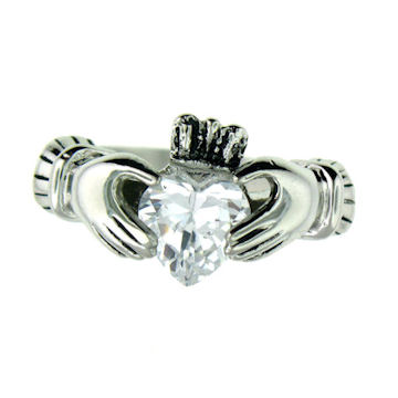 CLR1003-April stainless steel claddagh ring