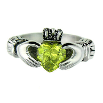 CLR1003-August stainless steel claddagh ring