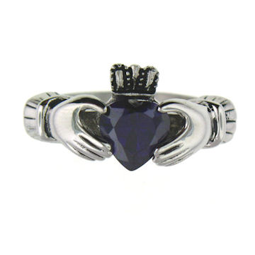 CLR1003-February stainless steel claddagh ring
