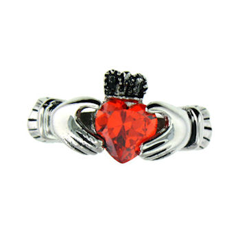 CLR1003-January stainless steel claddagh ring
