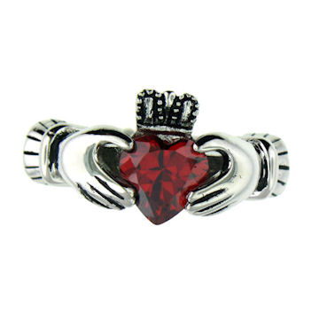 CLR1003-July stainless steel claddagh ring