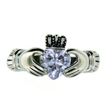 CLR1003-March stainless steel claddagh ring