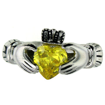 CLR1003-November stainless steel claddagh ring