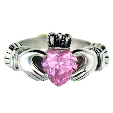 CLR1003-October stainless steel claddagh ring