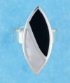 sterling silver MOP ring MOPR0009-BLACK WHITE