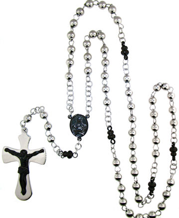stainless steel cross rosary necklace NKJ0065