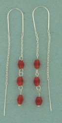 sterling silver threader earring T012 Red
