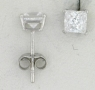 WGSS044 Princess cut 4mm white gold cz studs