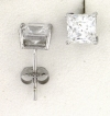 WGSS077 Princess cut 7mm white gold cz studs