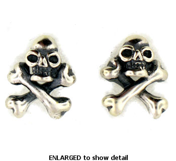 model WSE1175 skull earrings enlarged view