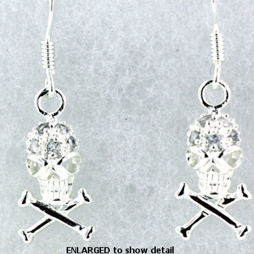 model WSE1211 skull earrings enlarged view