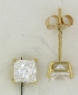 YGSS044 Princess cut 4mm 14k yellow gold cz studs