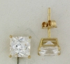 YGSS055 Princess cut 5mm 14k yellow gold cz studs