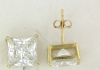 YGSS077 Princess cut 7mm 14k yellow gold cz studs