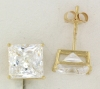 YGSS088 Princess cut 8mm 14k yellow gold cz studs