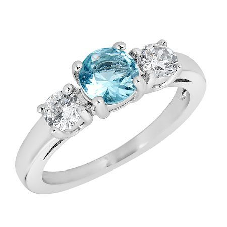 ZRJ4144 March CZ Birthstone Ring